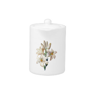 Lilium Candidum or Madonna Lily By Redoute Teapot