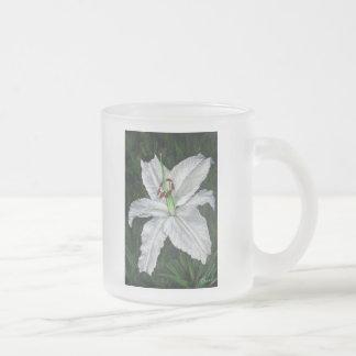 lilium casa blanca frosted glass coffee mug