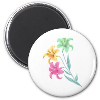 Lilium Lily Water Color 2 Inch Round Magnet