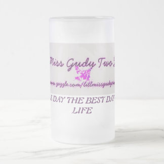 LILL MISS GUDY TWO SHUZ 16 OZ FROSTED GLASS BEER MUG