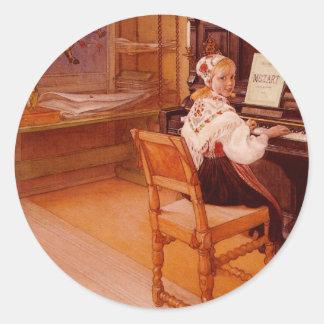 Lillanna Playing Mozart Classic Round Sticker