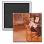 Lillanna Practicing Mozart on Piano 2 Inch Square Magnet