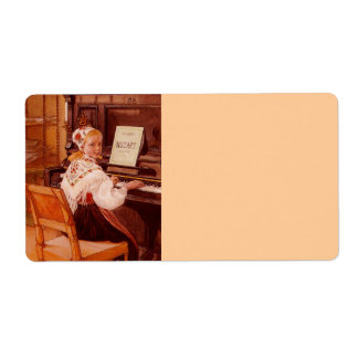 Lillanna Practicing Mozart on Piano Shipping Label