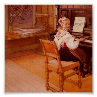 Lillanna Practicing Mozart on Piano Poster