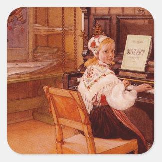 Lillanna que practica a Mozart en piano Pegatina Cuadrada