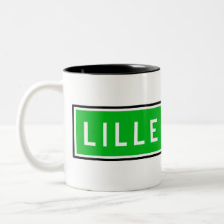 Lille, Road Sign, France Two-Tone Coffee Mug