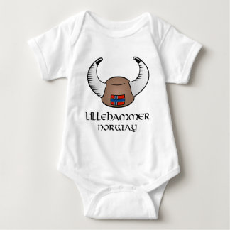 Lillehammer Norway Viking Hat Baby Bodysuit