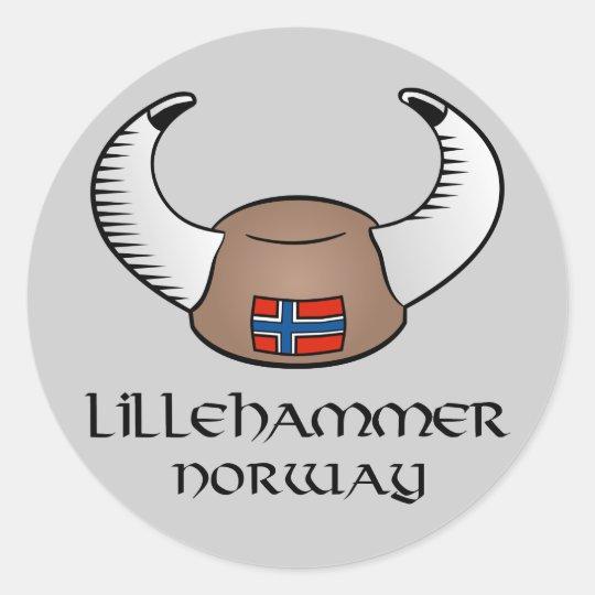 Lillehammer Norway Viking Hat Classic Round Sticker