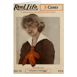 Lillian Gish 1914 movie magazine cover Card