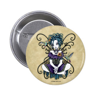 """Lillian"" Gothic Hummingbird Fairy Art Button"