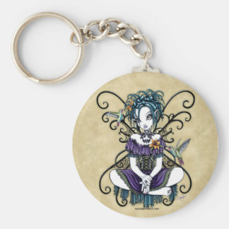 """Lillian"" Gothic Hummingbird Fairy Art Keychain"