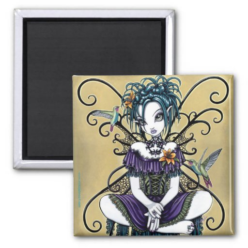 """Lillian"" Gothic Hummingbird Fairy Art Magnet"
