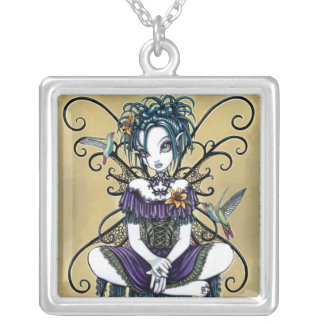 """Lillian"" Gothic Hummingbird Fairy Art Necklace"