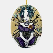 lillian, hummingbirds, lillies, lilly, flower, fairy, faery, fae, faerie, faeries, fairies, big, eyed, birds, cute, purple, fantasy, art, mika, myka, jelina, Ornament with custom graphic design