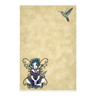 """Lillian"" Gothic Hummingbird Fairy Art Stationery"