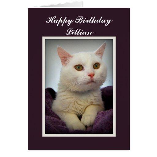 Lillian Happy Birthday White Cat Card