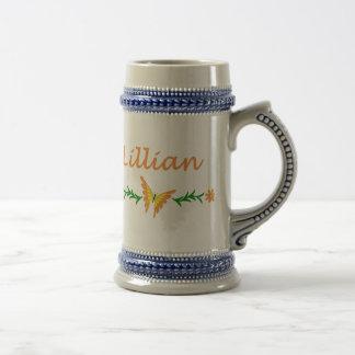 Lillian (mariposa anaranjada) tazas de café