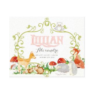 Lillian Top 100 Baby Names Girls Newborn Nursery Stretched Canvas Prints