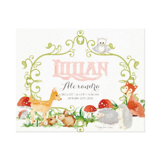 Lillian Top 100 Baby Names Girls Newborn Nursery Canvas Print