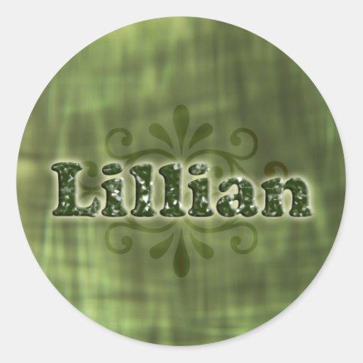 Lillian verde pegatina redonda
