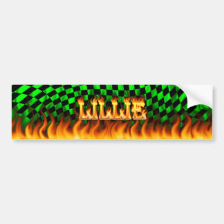 Lillie real fire and flames bumper sticker design.