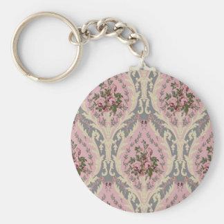 """""""Lillie"""" Wallpaper Design- Pink Basic Round Button Keychain"""