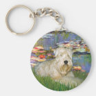 Lillies 2 - Wheaten Terrier 1 Keychain
