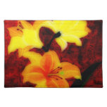 Lillies abstracto Placemat Mantel