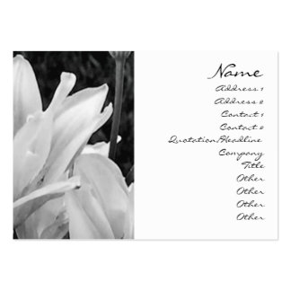 Lillies Black & White Profile Card Large Business Cards (Pack Of 100)