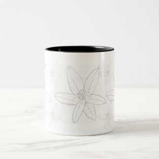 Lillies In Black and White Two-Tone Coffee Mug