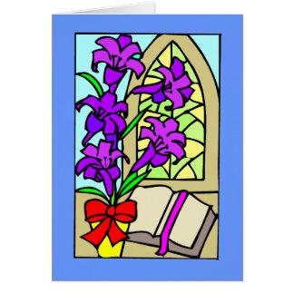 Lillies púrpura para Pascua Tarjeta De Felicitación