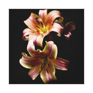 Lillies rosado impresión en lona estirada