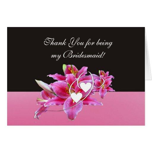 Lillies y tarjeta de nota de la dama de honor de l
