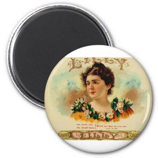 LILLY antiguo de la etiqueta de la caja de cigarro Imanes Para Frigoríficos