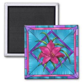 Lilly in Stained Glass 2 Inch Square Magnet