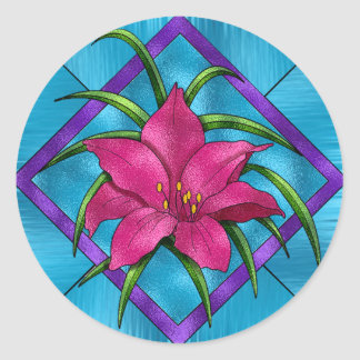 Lilly in Stained Glass Classic Round Sticker