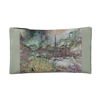 Lilly pond with orange leaves makeup bag