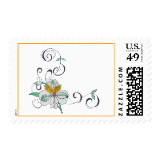 Lilly Scroll Postage Stamp