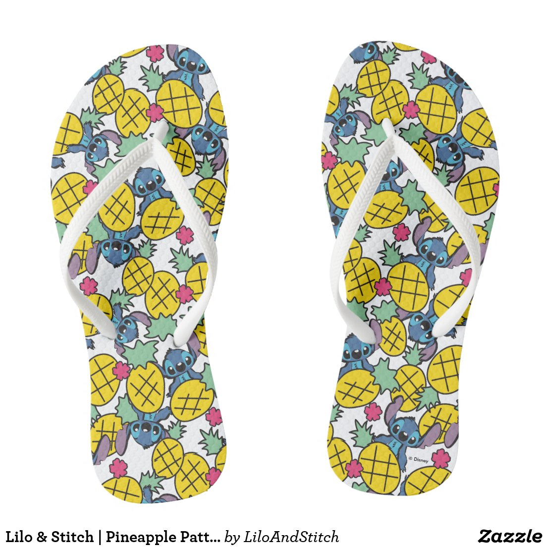 Lilo & Stitch | Pineapple Pattern Flip Flops