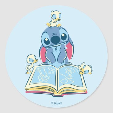 Disney Themed Lilo & Stitch | Reading the Ugly Duckling Classic Round Sticker