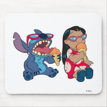 Disney Themed Lilo & Stitch's Lilo and Stitch Eating Ice Cream Mouse Pad