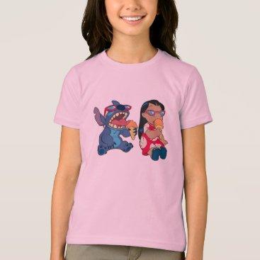 Disney Themed Lilo & Stitch's Lilo and Stitch Eating Ice Cream T-Shirt