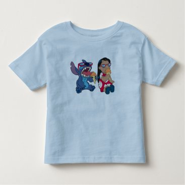 Disney Themed Lilo & Stitch's Lilo and Stitch Eating Ice Cream Toddler T-shirt
