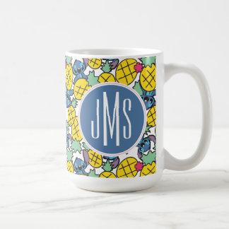 Lilo y cose el modelo de la piña del monograma del taza de café