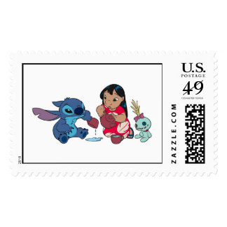 Lilo y fiesta del té de la puntada timbres postales