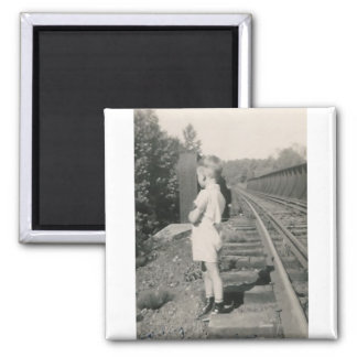 lilttle boy by railroad tracks 2 inch square magnet