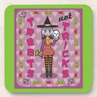 Lilura the Eggplant Purple Witch Treats Not Tricks Coaster