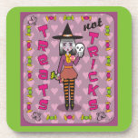 Lilura the Eggplant Purple Witch Treats Not Tricks Beverage Coasters