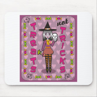 Lilura the Eggplant Purple Witch Treats Not Tricks Mouse Pad