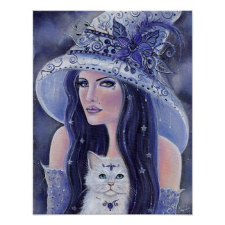 Lilura witch and white cat poster by Renee Lavoie